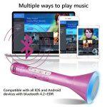 Microphone Bluetooth Sans Fil, Portable Karaoké Microphone Haut-parleur Player, Karaoke à la maison musique chanson Enfants/Adultes Sur PC ordinateur portable iPhone SamSung Android (Rose) de la marque Philonext image 3 produit
