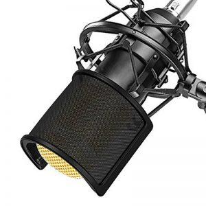 Microphone Filtre Anti Pop, TAIKUU Mic Filtre Micphone Ecran Anti Vent Avec Filtration Multicouche Et Fixation Stable Pour Studio D'enregistrement Et Meilleur Audio Qualité, Noir de la marque TAIKUU image 0 produit