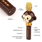 Microphone Karaoké Enfant Sans Fil, 3 en 1 Bluetooth Micro Karaoké Cartoon Portable Chanter Enregistrement pour Tablette/PC/ iPhone/Android - Marron de la marque FOOING image 2 produit
