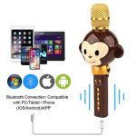 Microphone Karaoké Enfant Sans Fil, 3 en 1 Bluetooth Micro Karaoké Cartoon Portable Chanter Enregistrement pour Tablette/PC/ iPhone/Android - Marron de la marque FOOING image 3 produit