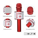 Microphone Karaoké NASUM de CHARIMALIY sans Fil Bluetooth 4.1 de Haut-parleur de Machine pour la Voix Chant Enregistrement, Compatible avec Smartphone/Android/IOS/PC pour Adultes Enfants, Rouge de la marque NASUM image 1 produit