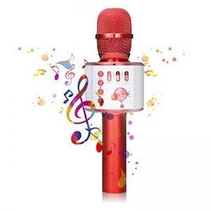 Microphone Karaoké NASUM de CHARIMALIY sans Fil Bluetooth 4.1 de Haut-parleur de Machine pour la Voix Chant Enregistrement, Compatible avec Smartphone/Android/IOS/PC pour Adultes Enfants, Rouge de la marque NASUM image 0 produit