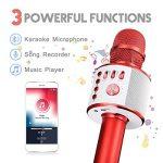 Microphone Karaoké NASUM de CHARIMALIY sans Fil Bluetooth 4.1 de Haut-parleur de Machine pour la Voix Chant Enregistrement, Compatible avec Smartphone/Android/IOS/PC pour Adultes Enfants, Rouge de la marque NASUM image 2 produit