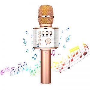 Microphone Karaoké sans Fil NASUM de CHARIMALIY Bluetooth 4.1 Haut-parleur Intégré 3-en-1 Machine Portable pour Smartphone Android/iPhone/iPad/PC, pour Chanter Karaoké Enregistrement Or Rose de la marque NASUM image 0 produit