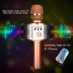 Microphone Karaoké sans Fil NASUM de CHARIMALIY Bluetooth 4.1 Haut-parleur Intégré 3-en-1 Machine Portable pour Smartphone Android/iPhone/iPad/PC, pour Chanter Karaoké Enregistrement Or Rose de la marque NASUM image 3 produit