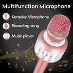 Microphone Karaoke Sans Fil, Karaoké Micro Bluetooth Enregistrement des Chansons Haut-parleur AUX Batterie Portable Haut-parleur pour ordinateur portable, iPhone, iPad, Android Smartphone (Rose) de la marque Leeron image 2 produit