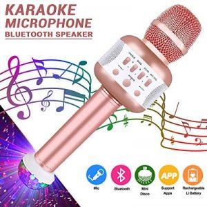 Microphone Karaoke Sans Fil, Karaoké Micro Bluetooth Enregistrement des Chansons Haut-parleur AUX Batterie Portable Haut-parleur pour ordinateur portable, iPhone, iPad, Android Smartphone (Rose) de la marque Leeron image 0 produit