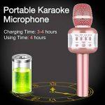 Microphone Karaoke Sans Fil, Karaoké Micro Bluetooth Enregistrement des Chansons Haut-parleur AUX Batterie Portable Haut-parleur pour ordinateur portable, iPhone, iPad, Android Smartphone (Rose) de la marque Leeron image 3 produit