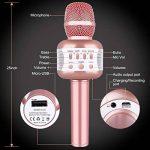 Microphone Karaoke Sans Fil, Karaoké Micro Bluetooth Enregistrement des Chansons Haut-parleur AUX Batterie Portable Haut-parleur pour ordinateur portable, iPhone, iPad, Android Smartphone (Rose) de la marque Leeron image 1 produit