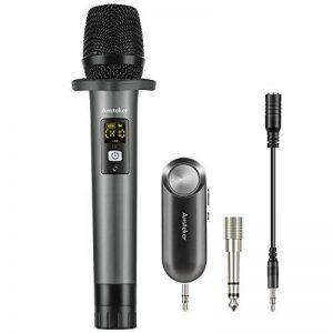 Microphone Sans Fil Bluetooth Ansteker 10 Canaux UHF Micro Sans Fil Professionnel avec Mini Récepteur Bluetooth Micro Main pour Utilisation Domestique Bar KTV Karaoké/Fête/ Conférence/Spectacle de la marque Ansteker image 0 produit