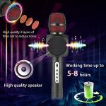 Microphone Sans Fil Karaoké avec 2 Haut-Parleur Bluetooth Intégré, Karaoké Portable pour Chanter, Compatible avec Android/IOS/PC/Smartphone (Black) de la marque Fede image 3 produit