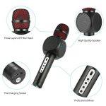 Microphone Sans Fil Karaoké avec 2 Haut-Parleur Bluetooth Intégré, Karaoké Portable pour Chanter, Compatible avec Android/IOS/PC/Smartphone (Black) de la marque Fede image 1 produit