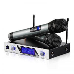 Microphone sans Fil Karaoké Micro sans Fil Professionnel Aluminium Alimenté par 2 AA Piles (Exclu) 2 Micro HF à Main Portable+1 Récepteur Micro VHF 2 Canaux 1 Cable 6.35 pour DJ Fête Réunion Mariage de la marque Moreslan image 0 produit