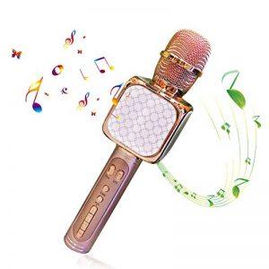 Microphone Sans Fil Karaoké, Portable Karaoké Microphone avec 2 Haut-Parleur Bluetooth Intégré, Micro Sans Fil Hf Dynamique Compatible avec Android/IOS/ PC/Smartphone, Cadeau pour Adult et Enfant de la marque Solgan image 0 produit