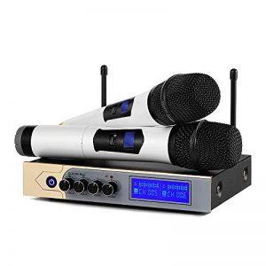 Microphone sans Fil Karaoké UHF Micro sans Fil UHF Bluetooth Micro HFProfessionnel 2 Micro à Main + 1 Récepteur avec 1 Câble Audio de 6,5 mm 2 Canaux pour Fête Conférence Spectacle Bar Réunion de la marque Moreslan image 0 produit