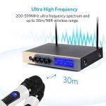 Microphone sans Fil Karaoké UHF Micro sans Fil UHF Bluetooth Micro HFProfessionnel 2 Micro à Main + 1 Récepteur avec 1 Câble Audio de 6,5 mm 2 Canaux pour Fête Conférence Spectacle Bar Réunion de la marque Moreslan image 1 produit