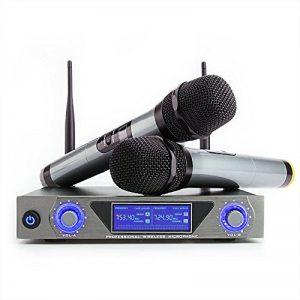 Microphone Sans Fil Micro Sans Fil UHF Micro HF Karaoké Système de Microphone LCD Récepteur 2 Canaux Micro Pratique 2 Microphones à Main pour Karaoké Réunion Interview de la marque Sumbay image 0 produit