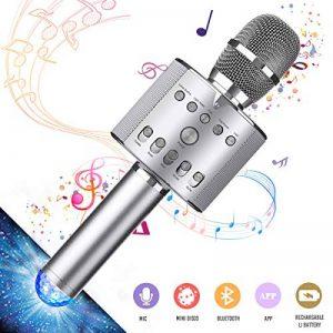 Microphone sans Fil NASUM Haut-parleur Multifonction Portable Bluetooth Compatible avec PC Téléphone Android IOS pour Chanter KTV Maison Fête Party avec Lampe Coloré LED Dynamique (Gris Foncé) de la marque NASUM image 0 produit