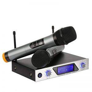Microphone sans Fil Professionnel VHF avec 1 Récepteur + 2 Micro Portable HF Distance Micro sans Fil à Main pour Karaoké Fête Conférence Spectacle Bar Réunion de la marque Moreslan image 0 produit