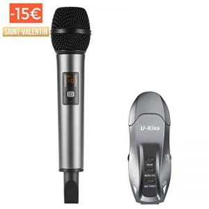 Microphone USB, U-KISS Micro Sans Fil K18 Microphone Portable Karaoké Système de Microphone Récepteur 2 Canaux Micro à Main pour Karaoké Réunion Interview de la marque U-KISS image 0 produit