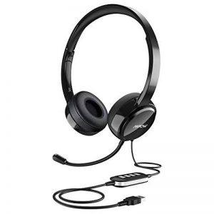 Mpow Micro Casque PC Filaire Téléphone Binaural,USB/3.5mm avec Microphone Réduction du Bruit, Oreillette Professionnelle avec Fil pour Smartphone, Skype, Bureau,Centre d'Appel,PC Gamer/PS3/PS4-Noir de la marque Mpow image 0 produit