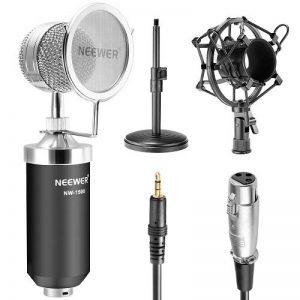 """Neewer® (1) NW-1500 Microphone à Condensateur Broadcast & Record Bureau Professionnel avec Câble Audio + (1) NW-02 Support Micro Desktop Fer de 4.7""""-7.5""""/12-19cm + (1) Mounture Choc Métal + (1) Coque Filtre Ecran-Vent de Mic (Noir) de la marque Neewer image 0 produit"""
