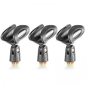 Neewer® 3-Paquets Pinces Clips Porte-Microphone Noir Universel avec 5/8-Pouces Male à 3/8-Pouces Femelle Adaptateurs Métal d'Ecrou pour Microphones à Main de la marque Neewer image 0 produit