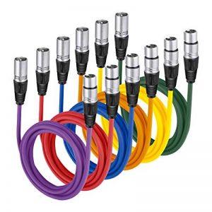 Neewer 6-Pack 1M Câbles Audio, XLR Mâle à XLR Femelle Microphone Câbles de Couleur (Vert, Bleu, Violet, Rouge, Jaune, Orange) de la marque Neewer image 0 produit