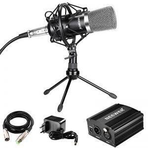 Neewer Microphone à Condensateur avec Support, Alimentation Fantôme, XLR Câble à 3 Broches, Mini Trépied pour Studio à la Maison Enregistrement, Radiodiffusion (Noir) de la marque Neewer image 0 produit