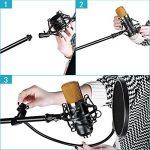 Neewer Microphone à Condensateur Kit Micro de Studio: NW-700 Microphone, NW-107 Trépied avec Bras Suspension, Support Anti-Choc, NW-3 Filtre Anti-Pop, Pare-brise en Mousse, et Câble Audio de la marque Neewer image 3 produit