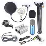 Neewer NW-700 Kit de Microphone à Condensateur – Micro (Bleu) et Alimentation Fantôme 48V (Argent), NW-35 Support de Bras avec Antichoc et Filtre Pop (Noir), Câble XLR Mâle à Femelle de la marque Neewer image 1 produit