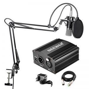 Neewer NW-700 Microphone à Condensateur Professionnel & NW-35 Support à Bras de Ciseaux avec Câble XLR et Pince de Montage & NW-3 Filtre Pop & 48V Alimentation Fantôme avec Adaptateur de la marque Neewer image 0 produit
