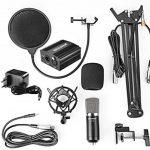 Neewer NW-700 Microphone à Condensateur Professionnel & NW-35 Support à Bras de Ciseaux avec Câble XLR et Pince de Montage & NW-3 Filtre Pop & 48V Alimentation Fantôme avec Adaptateur de la marque Neewer image 1 produit