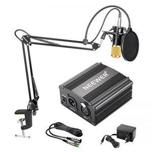 Neewer NW-800 Kit de Microphone à Condensateur - Micro Doré, 48V Alimentation Fantôme Noir, NW-35 Boom Support de Bras à Ciseaux avec Montage Choc et Filtre Pop, XLR Câble Mâle à Femelle de la marque Neewer image 0 produit