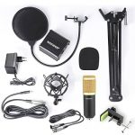 Neewer NW-800 Kit de Microphone à Condensateur - Micro Doré, 48V Alimentation Fantôme Noir, NW-35 Boom Support de Bras à Ciseaux avec Montage Choc et Filtre Pop, XLR Câble Mâle à Femelle de la marque Neewer image 1 produit