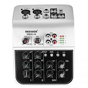 Neewer NW02-1A Console de Mixage Économique à 4 Canaux pour Micro à Condensateur, Mélangeur Audio Compact avec Alimentation Phantom 48v Égaliseur 2 Bandes EQ Entrée Ligne Stéréo 2 Voies RCA de la marque Neewer image 0 produit