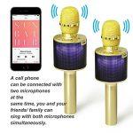 Nubeter Microphone Sans Fil Karaoké Portable Bluetooth 4.2, LED Lampe Coloré Dynamique, 2 Haut-Parleur Intégré, Compatible avec Apple/Android/Smartphone/PC/iPad, Idéal pour Bar Party Camping (Or) de la marque Nubeter image 1 produit