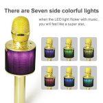 Nubeter Microphone Sans Fil Karaoké Portable Bluetooth 4.2, LED Lampe Coloré Dynamique, 2 Haut-Parleur Intégré, Compatible avec Apple/Android/Smartphone/PC/iPad, Idéal pour Bar Party Camping (Or) de la marque Nubeter image 2 produit