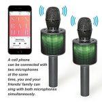 Nubeter Microphone Sans Fil Karaoké Portable Bluetooth 4.2, LED Lampe Coloré Dynamique, 2 Haut-Parleur Intégré, Compatible avec Apple/Android/Smartphone/PC/iPad, Idéal pour Bar Party Camping de la marque LiBatter image 1 produit
