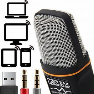 Professional cardioïde Microphone à condensateur Avec trépied pour PC, Ordinateur portable, iPhone, iPad, téléphones Android, tablettes, xBox et YouTube Enregistrement par ZaxSound de la marque ZaxSound image 0 produit