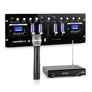 Resident dj DJ405USB-BK Table mixage • 4 canaux Set micro sans fil VHF 1 canal • 2 interfaces Bluetooth • 2 ports USB • 2 emplacements SD • 1 set de microphone sans fil VHF 1 canal • Port écouteurs de la marque Electronic-Star image 0 produit