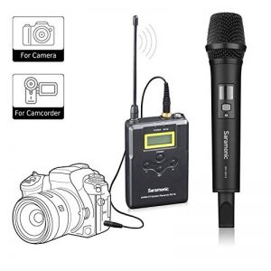 Saramonic UwMicA Professionnel Portable Sans Fil UHF Microphone à Main Système pour DSLR Caméra / Caméscope Vidéo, Compatible avec Canon / Nikon / Sony / Panasonic / BlackMagic / Zoom / Tascam de la marque Saramonic image 0 produit