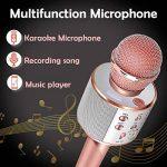 SunTop Microphone Bluetooth Sans Fil, Karaoke Sans Fil, Karaoké Micro Sans, Bluetooth haut-parleur, des Chansons Haut-parleur AUX pour ordinateur portable, iPhone, iPad, Android Smartphone (Rose Gold) de la marque SunTop image 1 produit