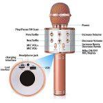 SunTop Microphone Bluetooth Sans Fil, Karaoke Sans Fil, Karaoké Micro Sans, Bluetooth haut-parleur, des Chansons Haut-parleur AUX pour ordinateur portable, iPhone, iPad, Android Smartphone (Rose Gold) de la marque SunTop image 4 produit