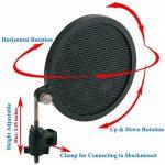 Tencro 47-53mm Microphone Mont Shock avec Double Pop Pop Filtre & Adaptateur à vis, Réglable Anti Vibration Haute isolation Métal Micro Mount Clip de support pour le diamètre de 47-53mm Microphone de la marque Tencro image 4 produit