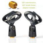 """Tencro Premium Universal Microphone Clip titulaire avec 5/8 """"mâle à 3/8"""" filetage femelle adaptateur pour vis pour microphone de taille standard de 2,2 cm à 3,6 cm - paquet de 2 de la marque Tencro image 2 produit"""