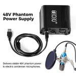 TONOR 48V Alimentation Fantôme avec Câble USB XLR pour Équipement d'Enregistrement de Musique de Microphone à Condensateur de la marque Tonor image 3 produit