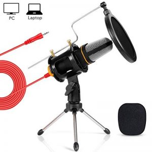 Tonor Microphone 3,5 Jack Micro PC avec Support de Trépied de Bureau pour PC Ordinateur Portable Chant YouTube Skype Noir de la marque Tonor image 0 produit