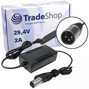 Trade-Shop Bloc d'alimentation avec câble de charge 29,4 V 2 A pour batteries 24 V avec connecteur 3 broches XLR 18,5 mm, remplace le chargeur HP1202L2 pour batteries de vélo électrique de la marque Trade-Shop image 0 produit