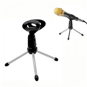 Trépied de table pour micro /Support de microphone de Bureau réglable portable pliable de la marque Acacia person image 0 produit